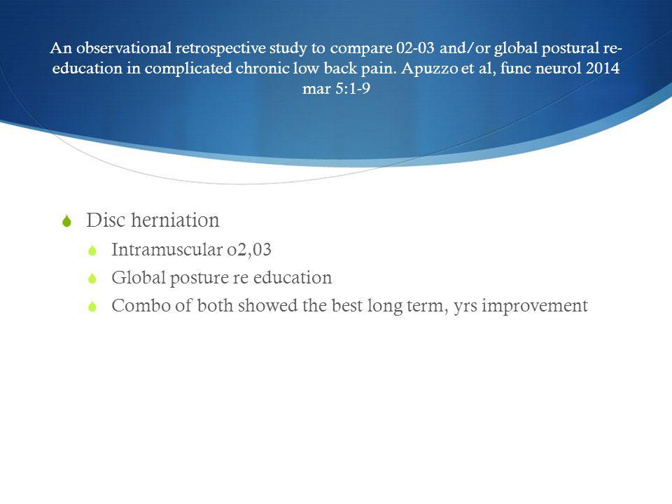 Disc herniation Intramuscular o2,03 Global posture re education