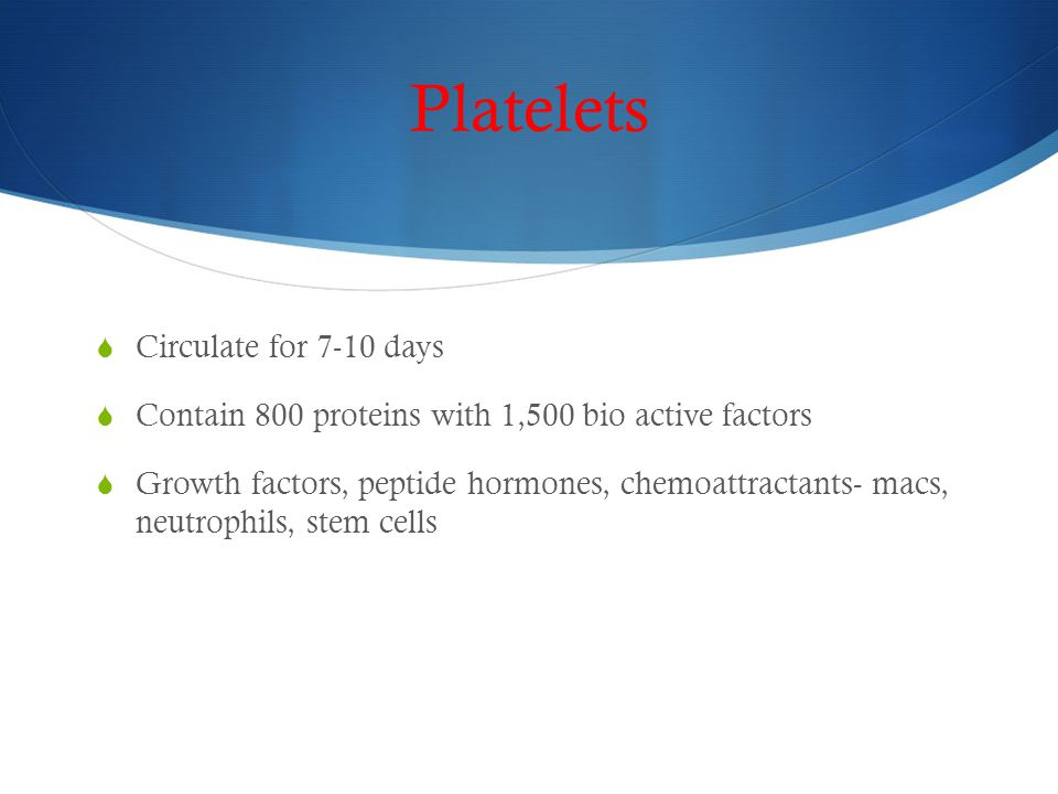 Platelets Circulate for 7-10 days