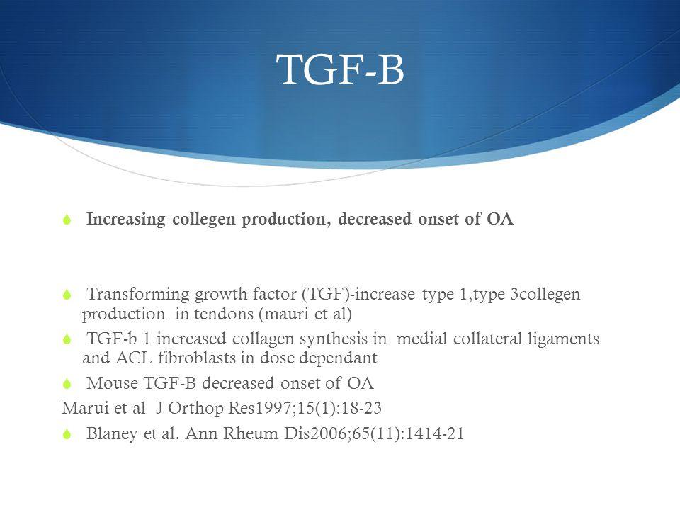 TGF-B Increasing collegen production, decreased onset of OA