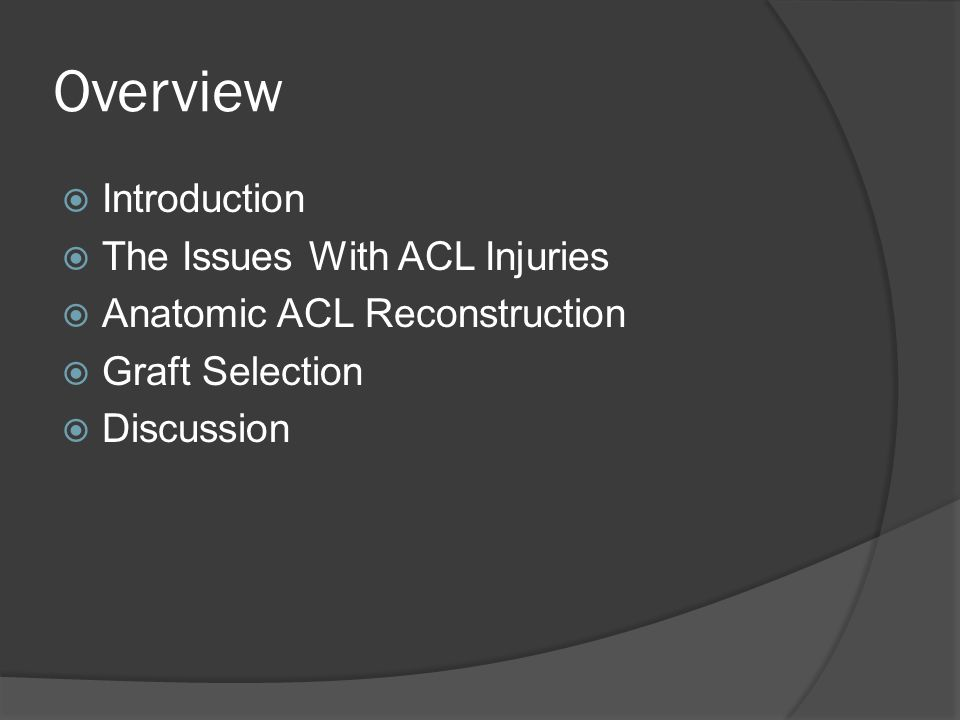Overview Introduction The Issues With ACL Injuries
