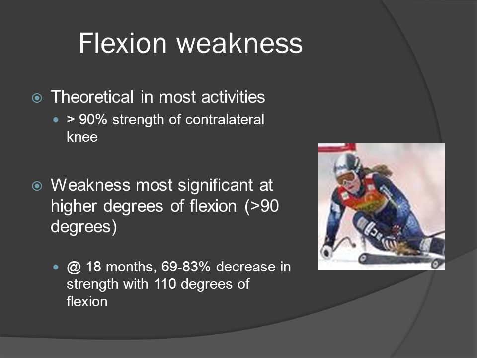 Flexion weakness Theoretical in most activities