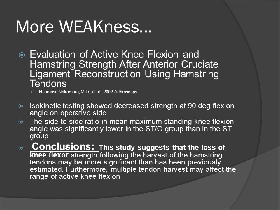 More WEAKness… Evaluation of Active Knee Flexion and Hamstring Strength After Anterior Cruciate Ligament Reconstruction Using Hamstring Tendons.