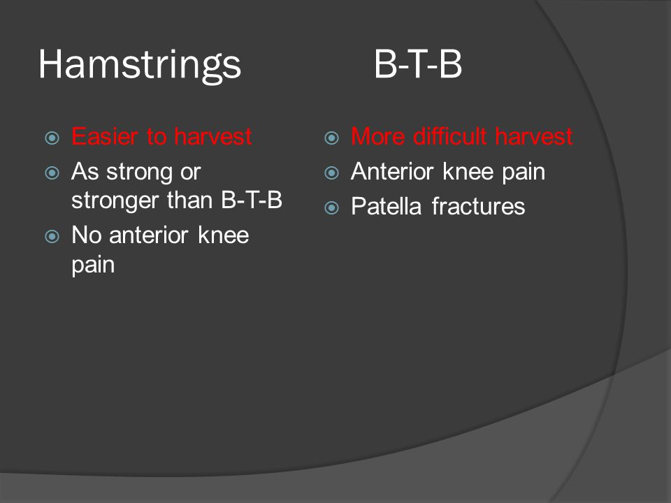 Hamstrings B-T-B Easier to harvest As strong or stronger than B-T-B
