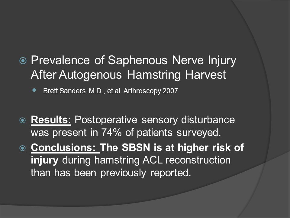 Prevalence of Saphenous Nerve Injury After Autogenous Hamstring Harvest