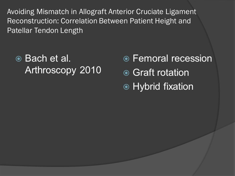 Bach et al. Arthroscopy 2010 Femoral recession Graft rotation