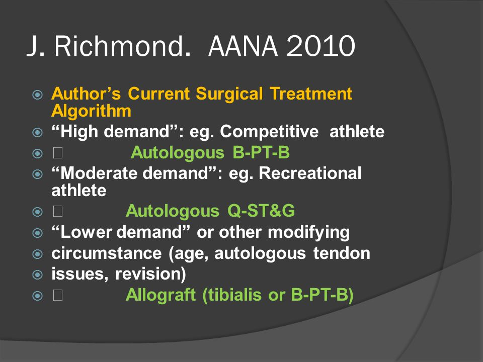 J. Richmond. AANA 2010 Author's Current Surgical Treatment Algorithm