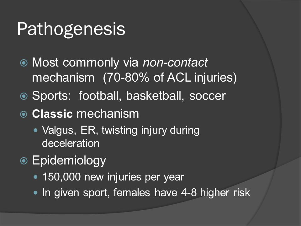 Pathogenesis Most commonly via non-contact mechanism (70-80% of ACL injuries) Sports: football, basketball, soccer.