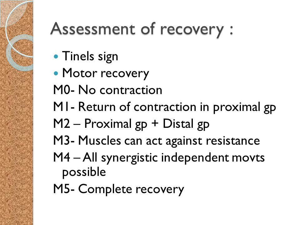 Assessment of recovery :
