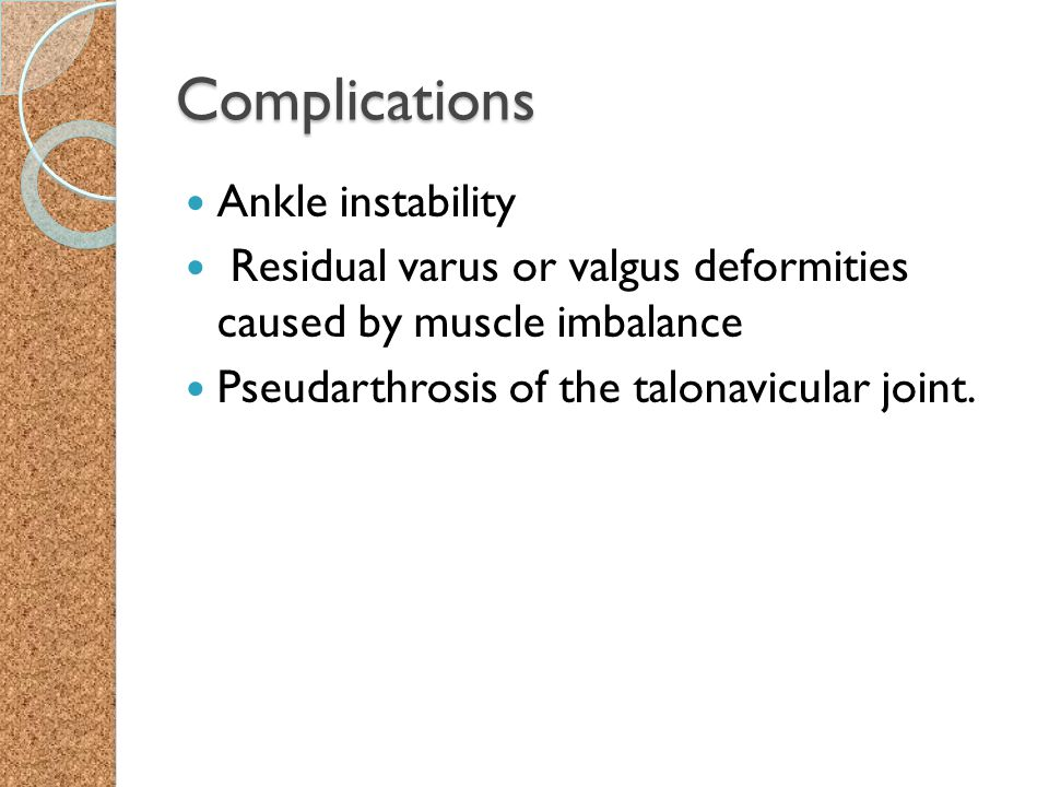 Complications Ankle instability