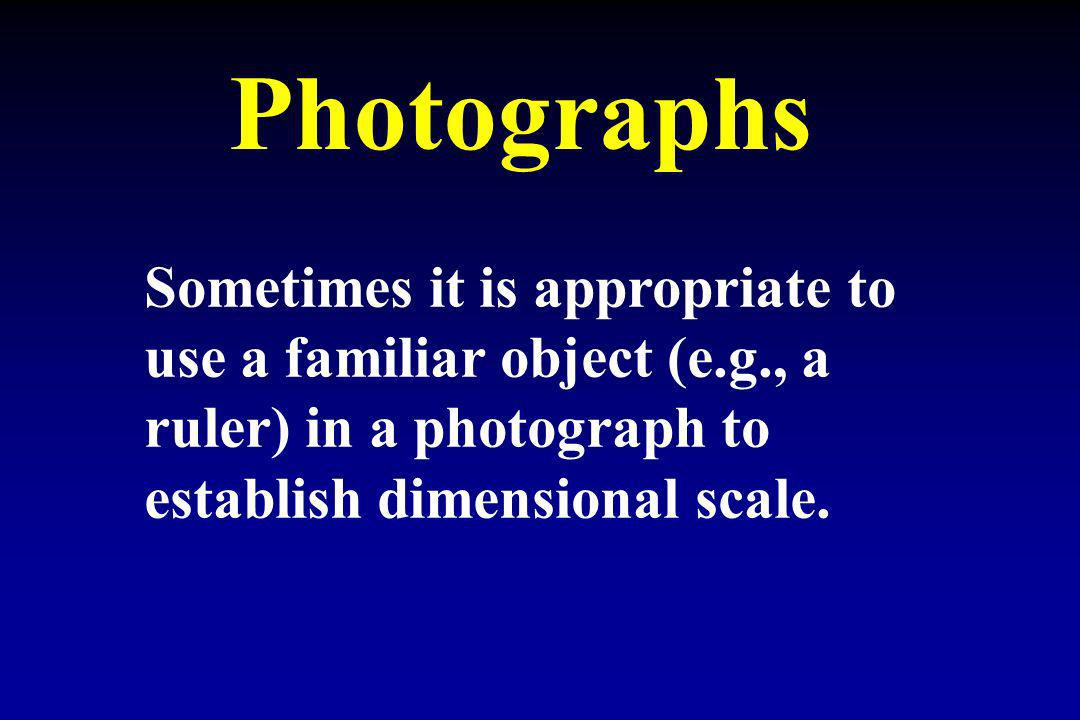 Photographs Sometimes it is appropriate to use a familiar object (e.g., a ruler) in a photograph to establish dimensional scale.