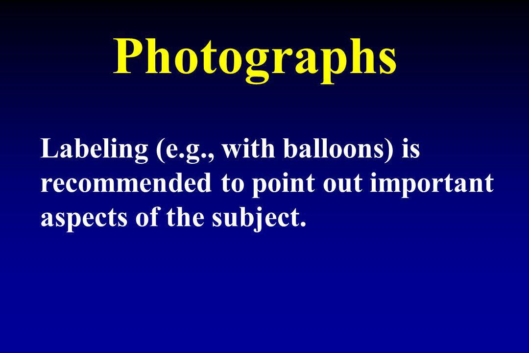 Photographs Labeling (e.g., with balloons) is recommended to point out important aspects of the subject.