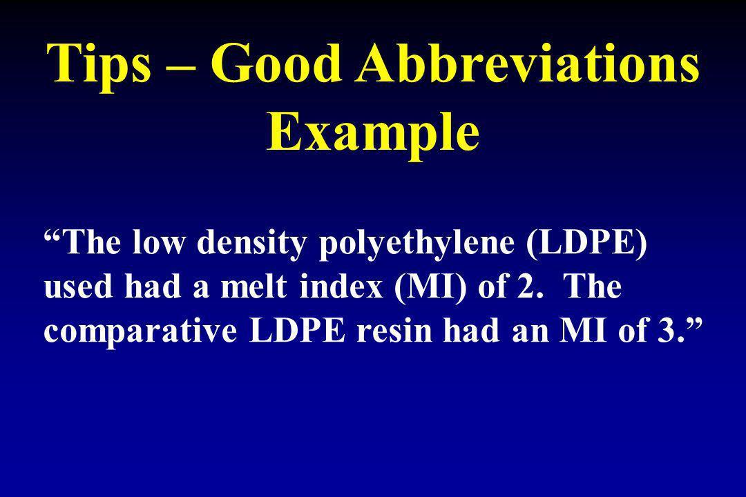 Tips – Good Abbreviations