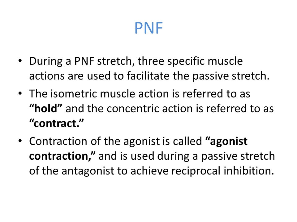 PNF During a PNF stretch, three specific muscle actions are used to facilitate the passive stretch.
