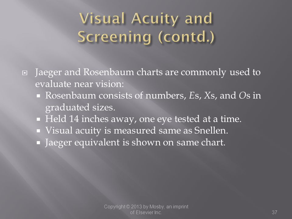 Visual Acuity and Screening (contd.)