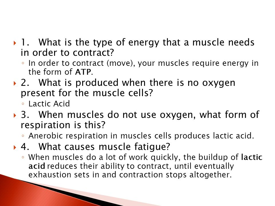 3. When muscles do not use oxygen, what form of respiration is this