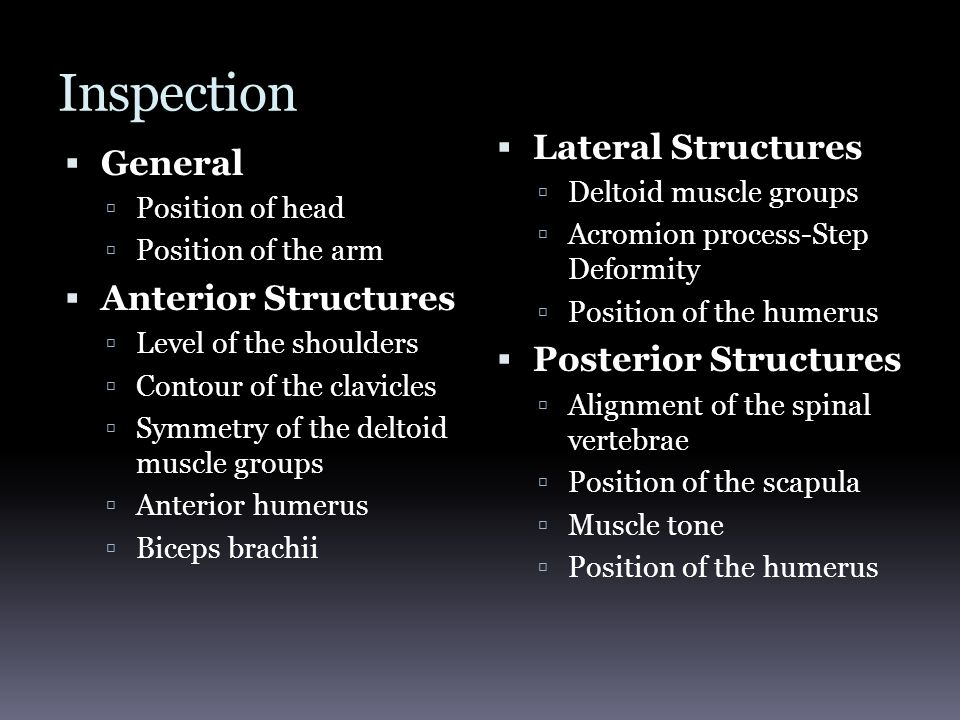 Inspection Lateral Structures General Anterior Structures