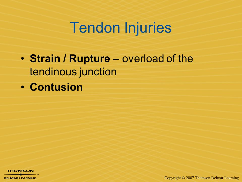 Tendon Injuries Strain / Rupture – overload of the tendinous junction