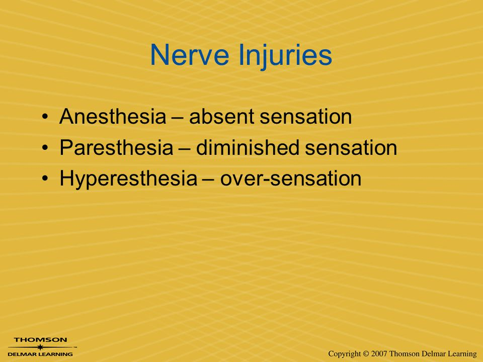 Nerve Injuries Anesthesia – absent sensation