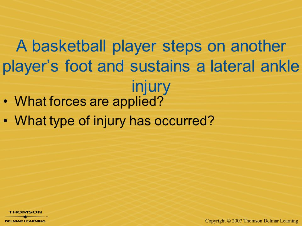 A basketball player steps on another player's foot and sustains a lateral ankle injury