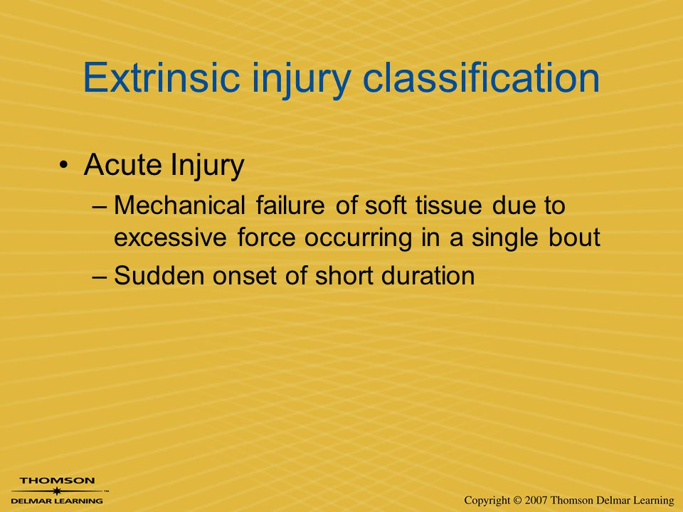 Extrinsic injury classification