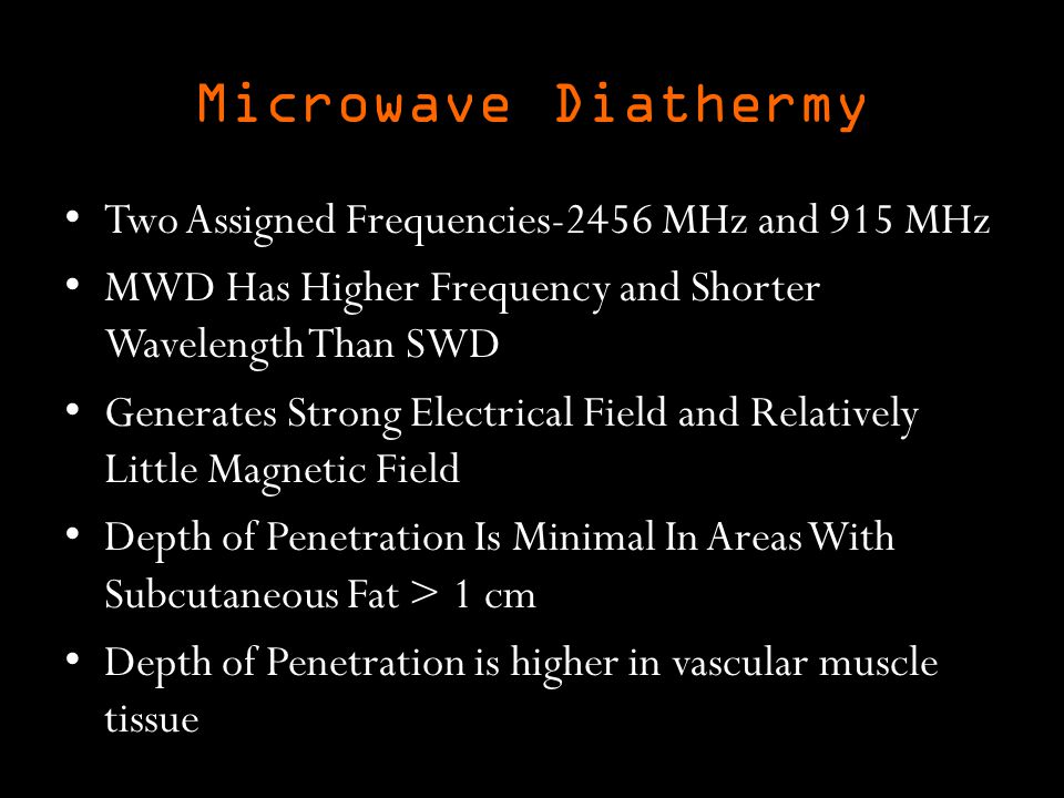 Microwave Diathermy Two Assigned Frequencies-2456 MHz and 915 MHz