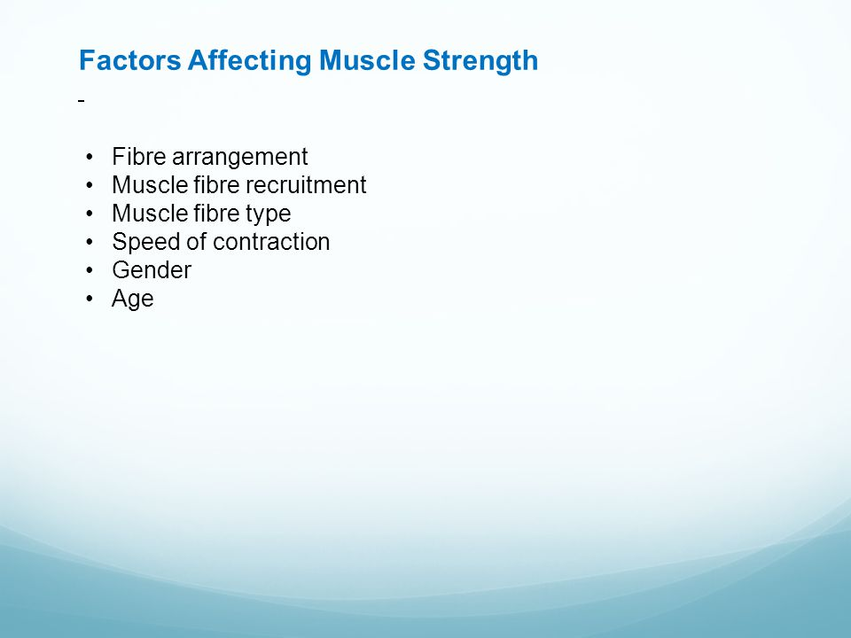 Factors Affecting Muscle Strength