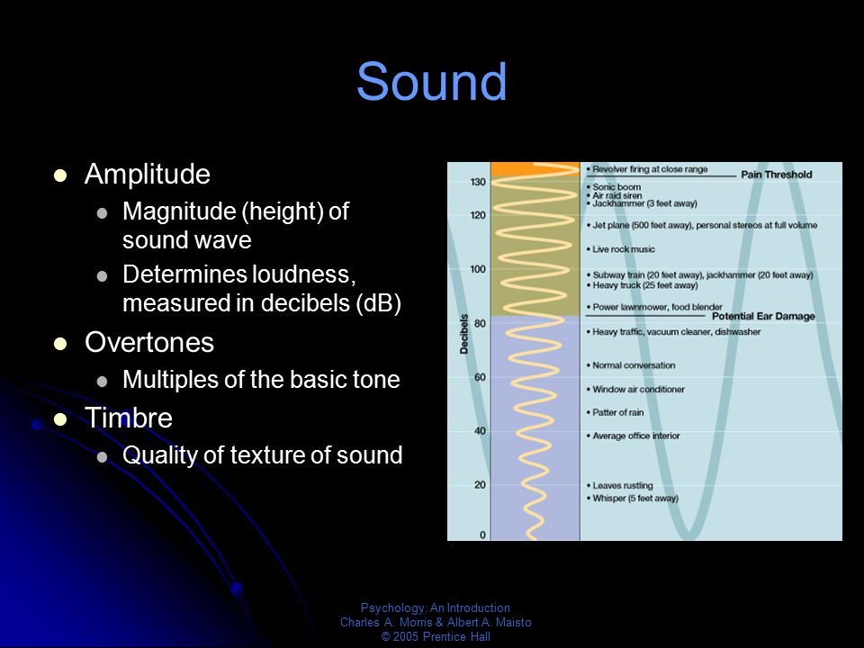 Sound Amplitude Overtones Timbre Magnitude (height) of sound wave