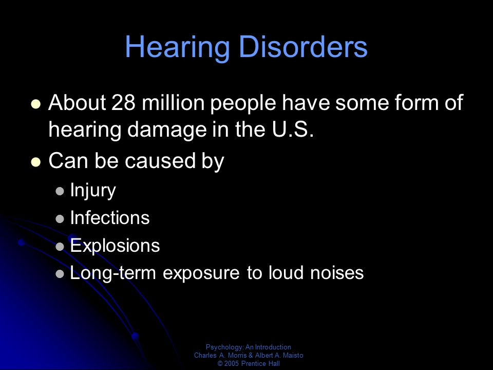 Hearing Disorders About 28 million people have some form of hearing damage in the U.S. Can be caused by.