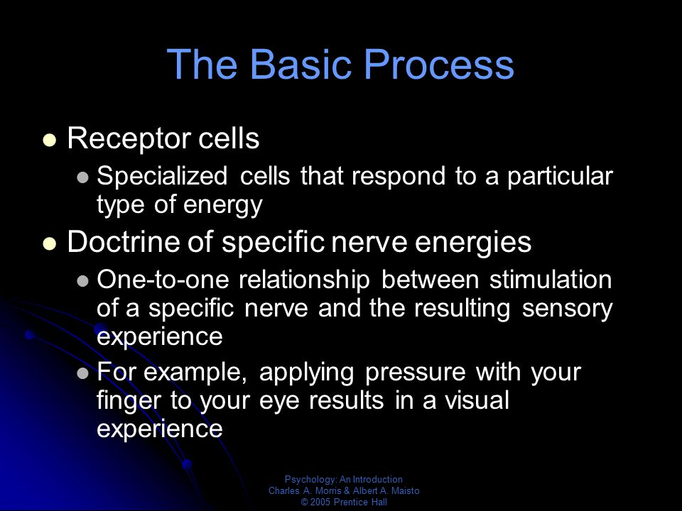 The Basic Process Receptor cells Doctrine of specific nerve energies