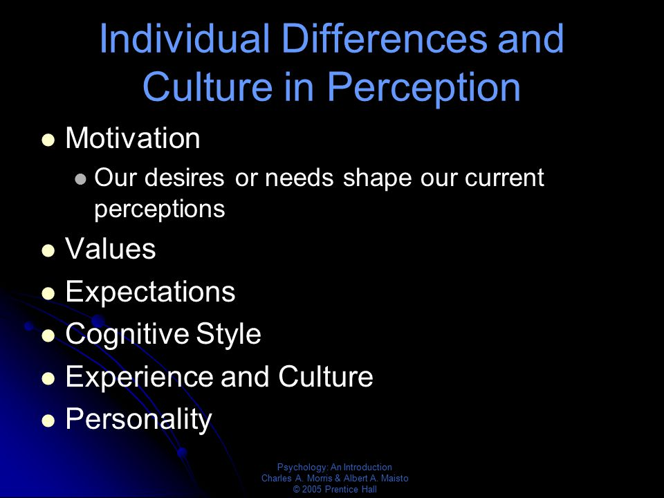 Individual Differences and Culture in Perception