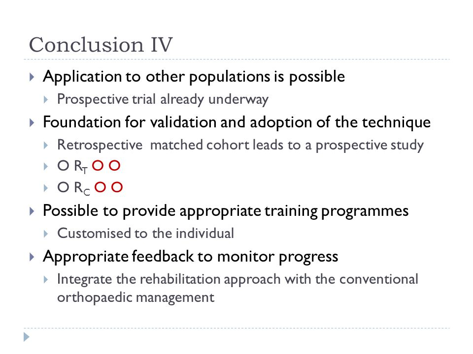 Conclusion IV Application to other populations is possible
