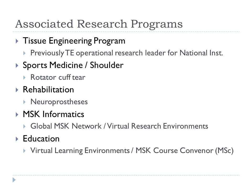 Associated Research Programs