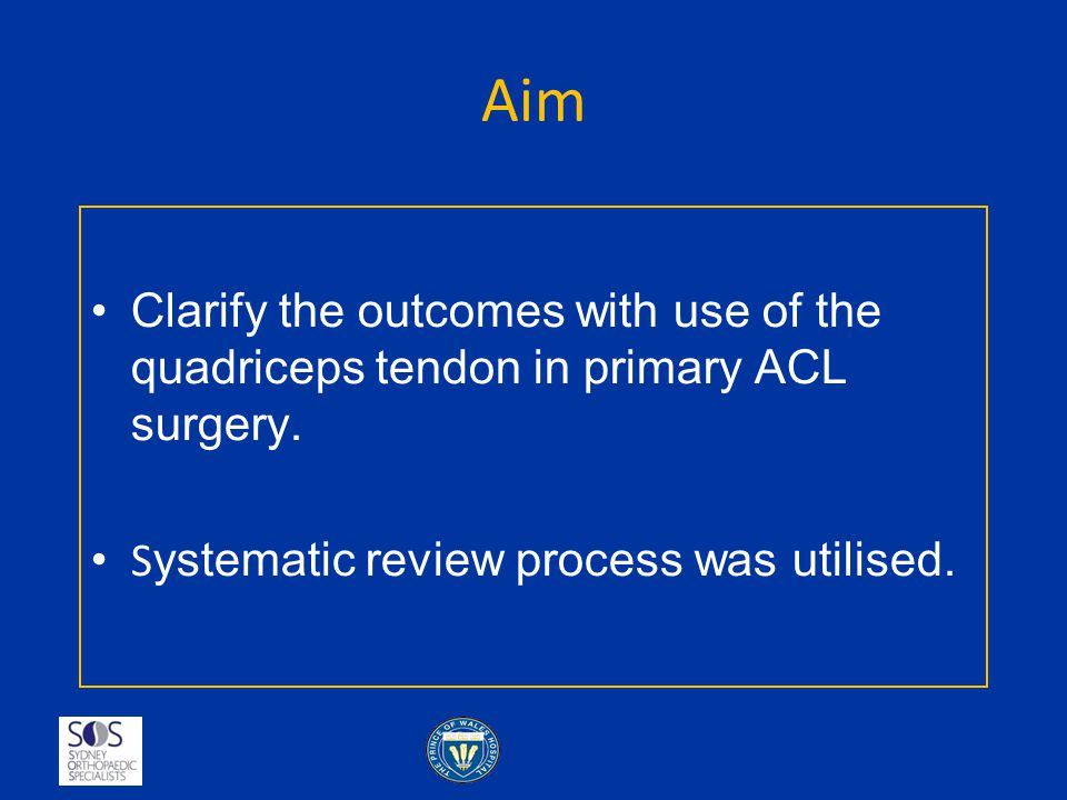Aim Clarify the outcomes with use of the quadriceps tendon in primary ACL surgery.