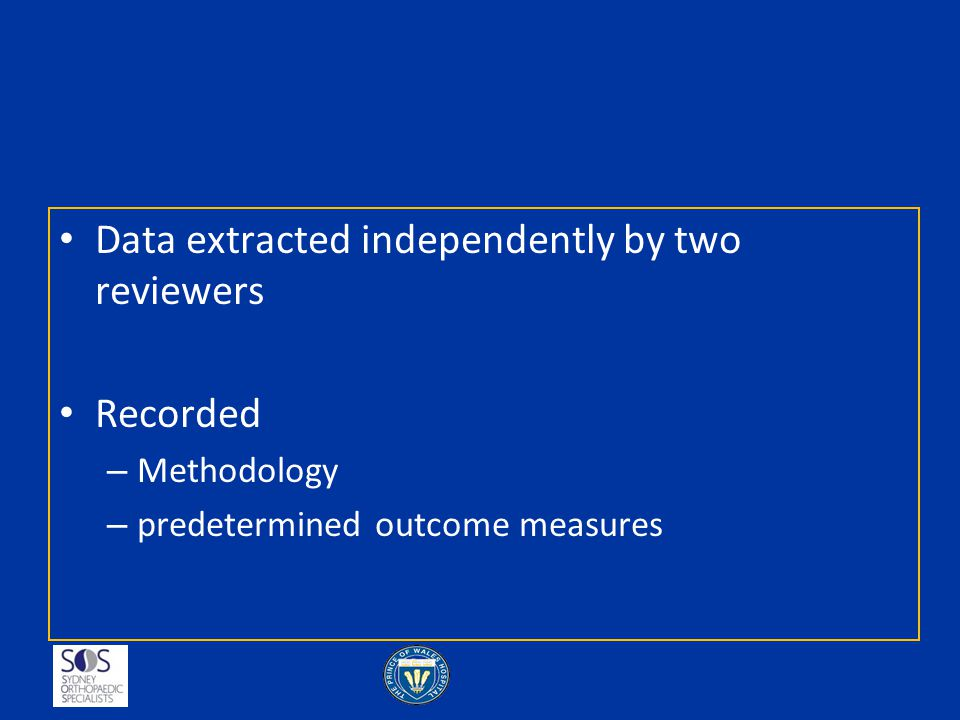 Data extracted independently by two reviewers
