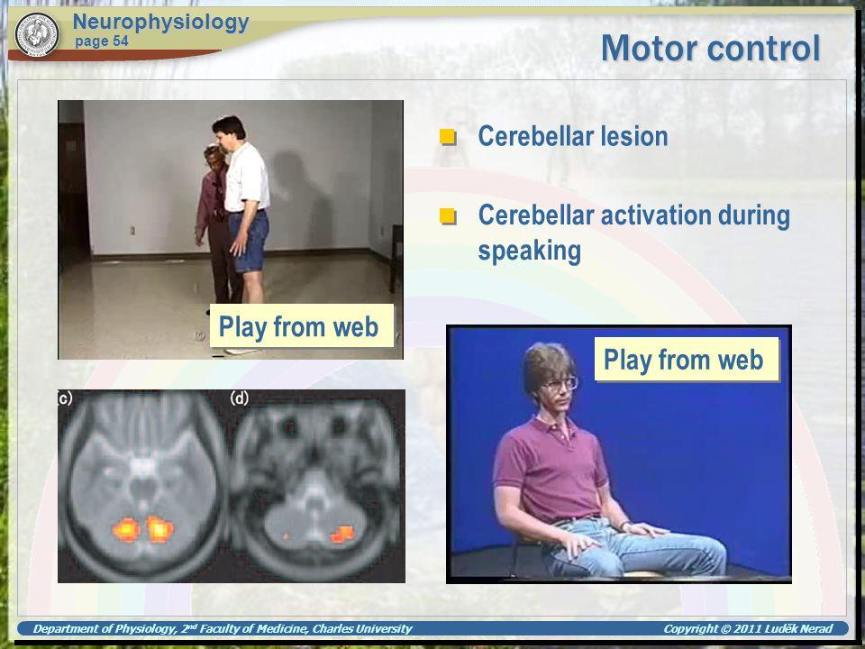 Motor control Cerebellar lesion Cerebellar activation during speaking