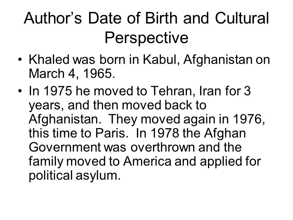 Author's Date of Birth and Cultural Perspective