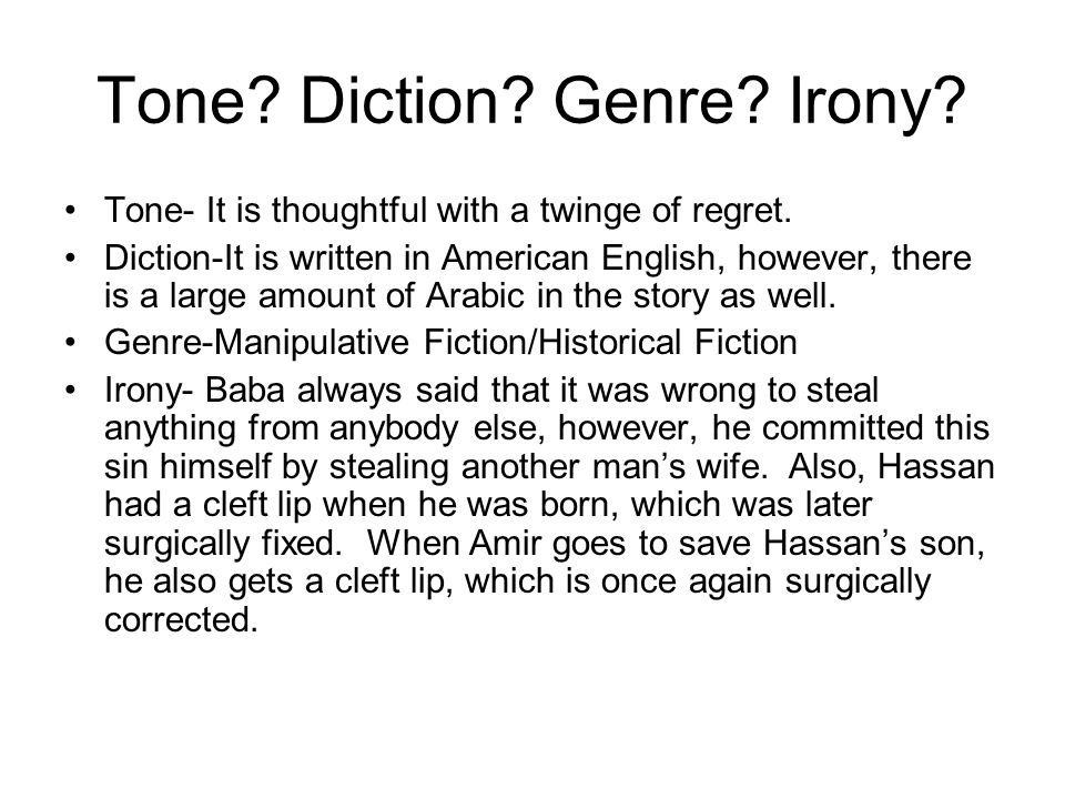 Tone Diction Genre Irony