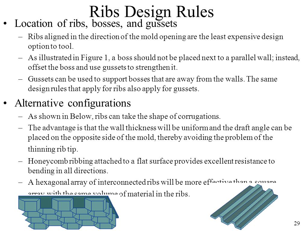 Ribs Design Rules Location of ribs, bosses, and gussets