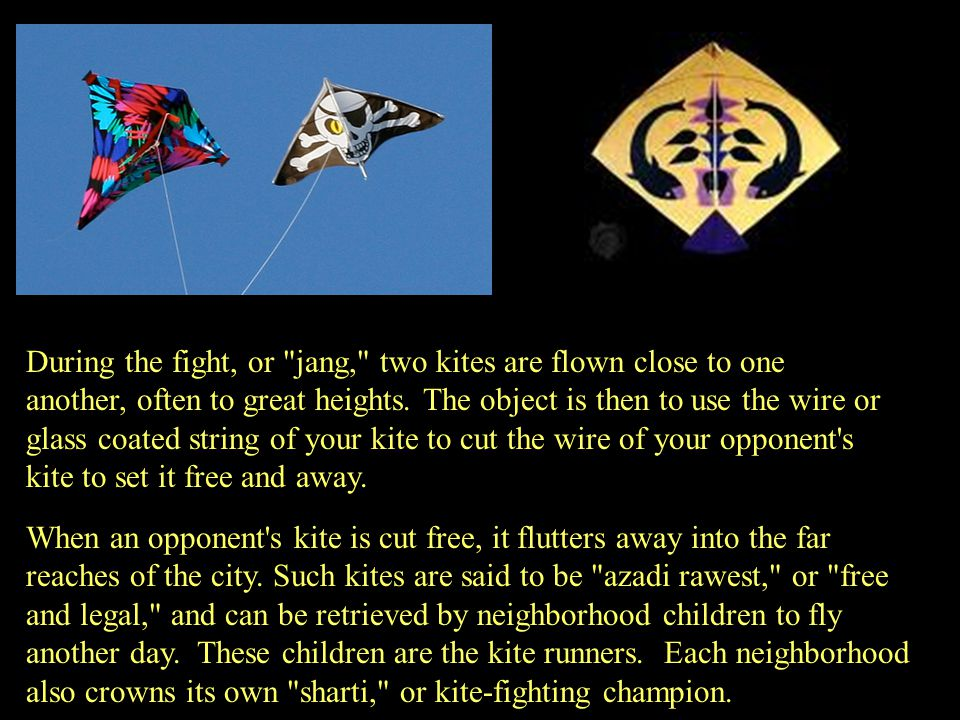 During the fight, or jang, two kites are flown close to one another, often to great heights. The object is then to use the wire or glass coated string of your kite to cut the wire of your opponent s kite to set it free and away.