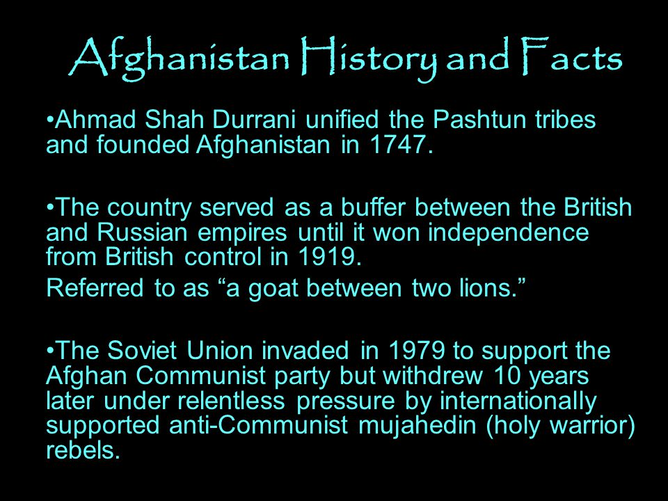 Afghanistan History and Facts