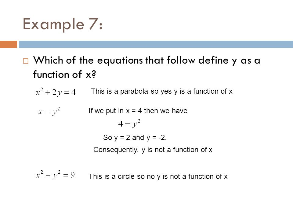 Example 7: Which of the equations that follow define y as a function of x This is a parabola so yes y is a function of x.