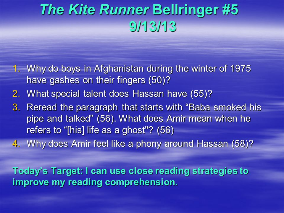 chapters 1 5 kite runner reading questions essay Lord of the flies study guide questions for chapters 1-3 essay below is an essay on lord of the flies study guide questions for chapters 1-3 from anti essays, your source for research papers, essays, and term paper examples study guide questions to the kite runner.