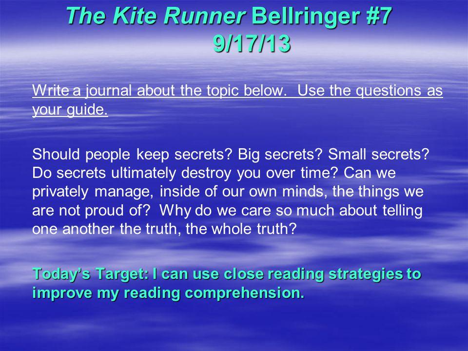 The Kite Runner Bellringer #7 9/17/13