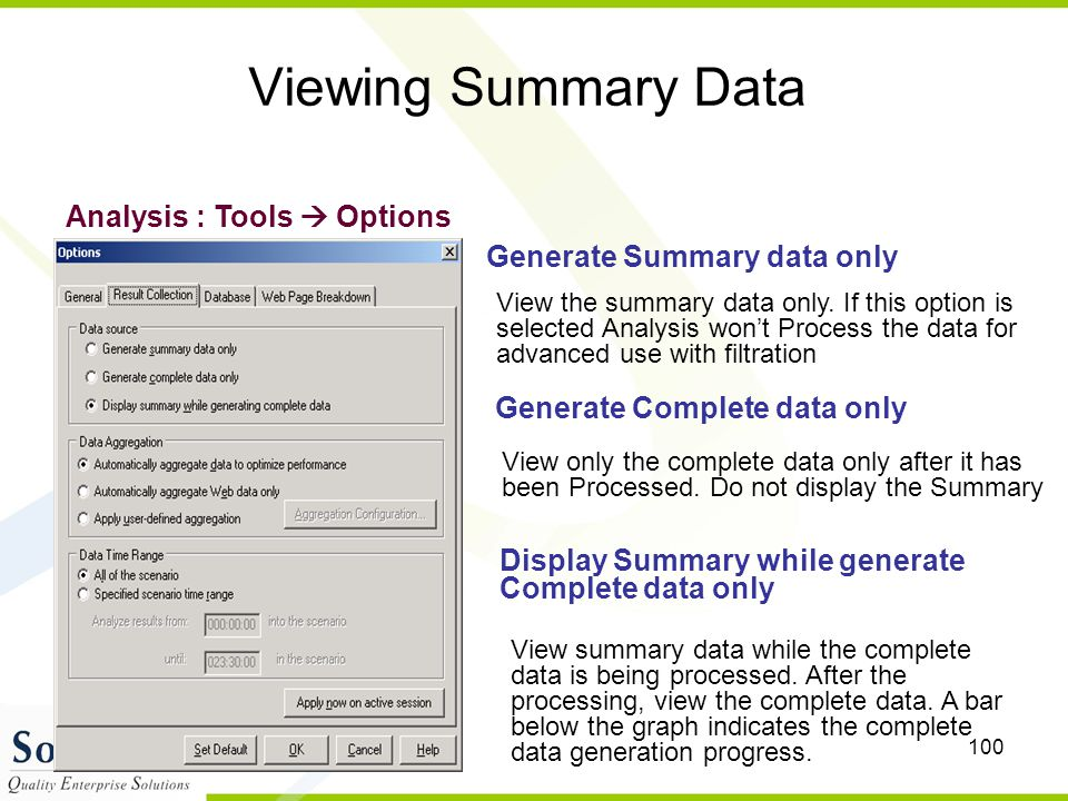 Viewing Summary Data Analysis : Tools  Options