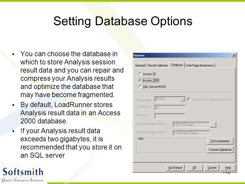 Setting Database Options