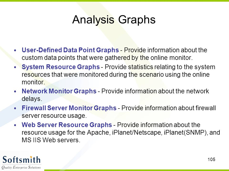 Analysis Graphs User-Defined Data Point Graphs - Provide information about the custom data points that were gathered by the online monitor.