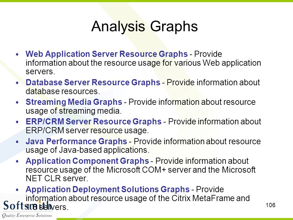Analysis Graphs Web Application Server Resource Graphs - Provide information about the resource usage for various Web application servers.