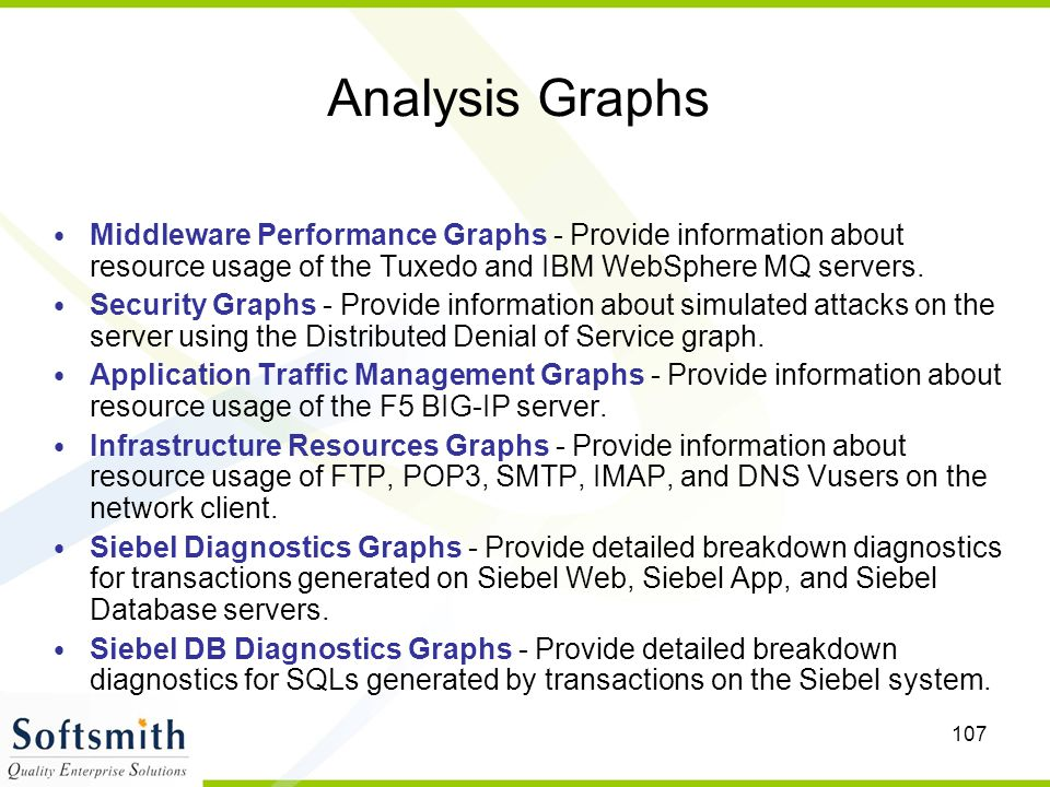 Analysis Graphs Middleware Performance Graphs - Provide information about resource usage of the Tuxedo and IBM WebSphere MQ servers.