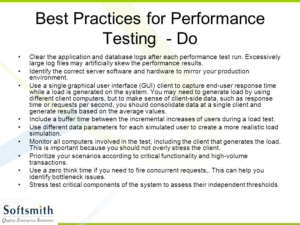 Best Practices for Performance Testing - Do