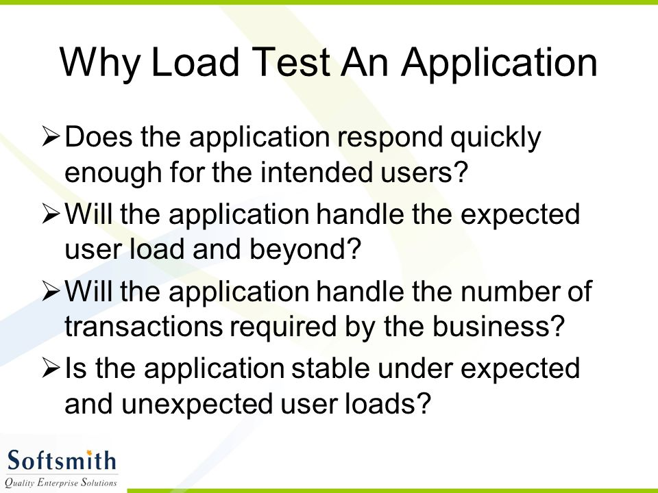 Why Load Test An Application